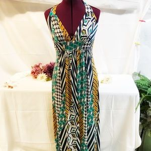 Ella Geometric Print Halter Maxi Dress Med…